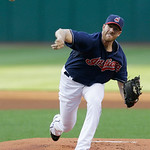 Cleveland Indians starting pitcher Zach McAllister pitches in the first inning of a baseball game against the Philadelphia Phillies, Tuesday, April 30, 2013, in Cleveland. (AP Photo/Tony Dej …