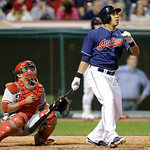 Cleveland Indians' Michael Brantley watches his ball after hitting a two-run home run off Philadelphia Phillies relief pitcher Chad Durbin in the fifth inning of a baseball game, Tuesday, Ap …