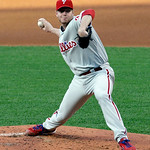 Philadelphia Phillies starting pitcher Roy Halladay delivers a pitch during the first inning of a baseball game against the Cleveland Indians, Tuesday, April 30, 2013, in Cleveland. (AP Phot …