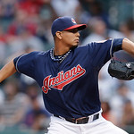 Cleveland Indians starting pitcher Carlos Carrasco throws in the first inning of a baseball game against the New York Yankees, Tuesday, April 9, 2013, in Cleveland. (AP Photo/Tony Dejak)