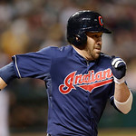 Cleveland Indians' Jason Kipnis runs out a ground ball in the fifth inning of a baseball game, Tuesday, April 9, 2013, in Cleveland. Kipnis was out at first base. (AP Photo/Tony Dejak)