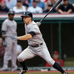 New York Yankees' Brett Gardner watches his double off Cleveland Indians starting pitcher Carlos Carrasco in the first inning of a baseball game, Tuesday, April 9, 2013, in Cleveland. (AP Ph …