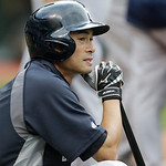 New York Yankees' Ichiro Suzuki watches batting practice before the Cleveland Indians play Yankees in baseball game, Tuesday, April 9, 2013, in Cleveland. (AP Photo/Tony Dejak)