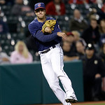 Cleveland Indians' Lonnie Chisenhall throws out New York Yankees' Jayson Nix at first base in the eighth inning of a baseball game, Tuesday, April 9, 2013, in Cleveland. (AP Photo/Tony Dejak …