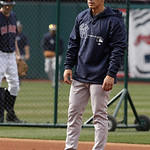 New York Yankees manager Joe Girardi watches batting practice before the Cleveland Indians play Yankees in a baseball game, Tuesday, April 9, 2013, in Cleveland. (AP Photo/Tony Dejak)