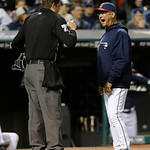 Cleveland Indians manager Terry Francona, right, argues with home plate umpire Jordan Baker in the fourth inning of a baseball game, Tuesday, April 9, 2013, in Cleveland. Francona was arguin …