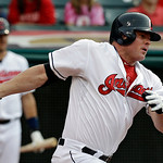 Cleveland Indians' Jason Giambi singles off Toronto Blue Jays relief pitcher Esmil Rogers to drive in a run in the second inning of a baseball game on Wednesday, July 10, 2013, in Cleveland. …