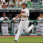Cleveland Indians' Michael Brantley races home to score on a single by Jason Giambi in the second inning of a baseball game against the Toronto Blue Jays Wednesday, July 10, 2013, in Clevela …