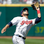 Cleveland Indians' Mike Aviles catches a fly ball hit by Toronto Blue Jays first baseman Edwin Encarnacion in the ninth inning of a baseball game, Thursday, July 11, 2013, in Cleveland. The  …