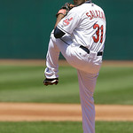 Cleveland Indians starting pitcher Danny Salazar pitches in the fifth inning of a baseball game against the Toronto Blue Jays, Thursday, July 11, 2013, in Cleveland. Salazar pitched six inni …