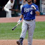 Kansas City Royals' Alex Gordon reacts after striking out against Cleveland Indians starting pitcher Ubaldo Jimenez in the fourth inning of a baseball game on Sunday, July 14, 2013, in Cleve …
