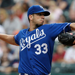 Kansas City Royals starting pitcher James Shields delivers in the first inning of a baseball game against the Cleveland Indians, Sunday, July 14, 2013, in Cleveland. (AP Photo/Tony Dejak)