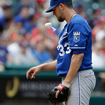 Kansas City Royals starting pitcher James Shields tosses a rosin bag in the third inning of a baseball game against the Cleveland Indians, Sunday, July 14, 2013, in Cleveland. (AP Photo/Tony …