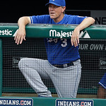 Kansas City Royals manager Ned Yost watches from the dugout in the first inning of a baseball game against the Cleveland Indians, Sunday, July 14, 2013, in Cleveland. (AP Photo/Tony Dejak)