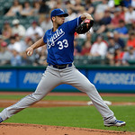 Kansas City Royals starting pitcher James Shields pitches in the first inning of a baseball game against the Cleveland Indians, Sunday, July 14, 2013, in Cleveland. (AP Photo/Tony Dejak)