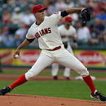 Cleveland Indians starting pitcher Ubaldo Jimenez pitches in the first inning of a baseball game against the Kansas City Royals, Sunday, July 14, 2013, in Cleveland. (AP Photo/Tony Dejak)