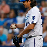 Kansas City Royals starting pitcher Luis Mendoza (39) during a baseball game against the Cleveland Indians at Kauffman Stadium in Kansas City, Mo., Tuesday, July 2, 2013. (AP Photo/Orlin Wag …