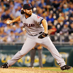 Cleveland Indians relief pitcher Chris Perez delivers to a Kansas City Royals batter during the ninth inning of a baseball game at Kauffman Stadium in Kansas City, Mo., Tuesday, July 2, 2013 …