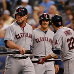 Cleveland Indians designated hitter Jason Giambi, left, during a baseball game against the Cleveland Indians at Kauffman Stadium in Kansas City, Mo., Tuesday, July 2, 2013. (AP Photo/Orlin W …