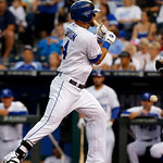 Kansas City Royals' Alex Gordon  is hit by a pitch during the third inning of a baseball game against the Cleveland Indians at Kauffman Stadium in Kansas City, Mo., Tuesday, July 2, 2013. (A …