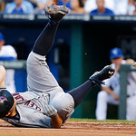 Cleveland Indians' Mark Reynolds hits the dirt after being hit by a pitch from Kansas City Royals starting pitcher Luis Mendoza during the first inning of a baseball game at Kauffman Stadium …