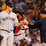 Cleveland Indians manager Terry Francona, right, takes the ball from Cleveland Indians starting pitcher Corey Kluber, left, during the sixth inning of a baseball game against the Kansas City …