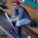 Cleveland Indians' Mark Reynolds waits in the dugout during batting practice before a baseball game against the Seattle Mariners, Monday, July 22, 2013, in Seattle. (AP Photo/Ted S. Warren)