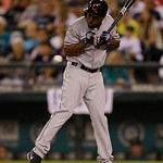 Cleveland Indians' Michael Bourn is hit by a pitch during a baseball game against the Seattle Mariners, Monday, July 22, 2013, in Seattle. (AP Photo/Ted S. Warren)