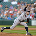 Cleveland Indians starting pitcher Ubaldo Jimenez throws in the first inning of a baseball game against the Seattle Mariners, Monday, July 22, 2013, in Seattle. (AP Photo/Ted S. Warren)