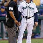 Seattle Mariners bench coach Robby Thompson, right, argues with plate umpire Adrian Johnson in the third inning of a baseball game against the Cleveland Indians on Tuesday, July 23, 2013, in …