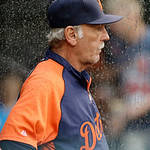 Detroit Tigers manager Jim Leyland watches from the dugout in the third inning of a baseball game against the Cleveland Indians Monday, July 8, 2013, in Cleveland. (AP Photo/Mark Duncan)