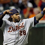 Detroit Tigers' Prince Fielder celebrates after scoring on Victor Martinez's two-run double in the 10th inning of a baseball game against the Cleveland Indians Monday, July 8, 2013, in Cleve …