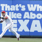 Texas Rangers right fielder Nelson Cruz catches a fly ball for an out during a baseball game against the Cleveland Indians Tuesday, June 11, 2013, in Arlington, Texas. (AP Photo/LM Otero)