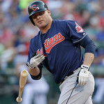 Cleveland Indians designated hitter Jason Giambi tosses his bat after drawing a walk during a baseball game against the Cleveland Indians Wednesday, June 12, 2013, in Arlington, Texas. (AP P …