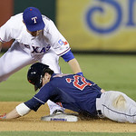 Cleveland Indians' Jason Kipnis (22) slides safely into second base for a double against Texas Rangers' Jeff Baker during the seventh inning of a baseball game on Wednesday, June 12, 2013, i …