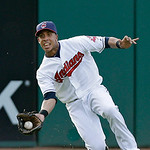 Cleveland Indians left fielder Michael Brantley makes a sliding catch on a fly ball off the bat of Kansas City Royals' Chris Getz in the third inning of a baseball game, Monday, June 17, 201 …