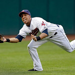 Cleveland Indians left fielder Michael Brantley makes a diving catch on a fly ball by Kansas City Royals' Chris Getz in the sixth inning of a baseball game, Monday, June 17, 2013, in Clevela …