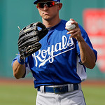 Kansas City Royals right fielder David Lough warms up before a baseball game Cleveland Indians Monday, June 17, 2013, in Cleveland. (AP Photo/Mark Duncan)