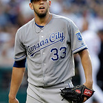 Kansas City Royals starting pitcher James Shields walks off the field after getting out of a bases-loaded jam in the third inning of a baseball game against the Cleveland Indians Monday, Jun …