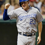 Kansas City Royals' Elliot Johnson celebrates after scoring from third base on a wild pitch from Cleveland Indians relief pitcher Matt Albers in the ninth inning of a baseball game Monday, J …