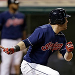 Cleveland Indians' Jason Kipnis doubles against the Kansas City Royals to drive a run in the eighth inning of a baseball game Tuesday, June 18, 2013, in Cleveland. The Indians won 4-3. (AP P …