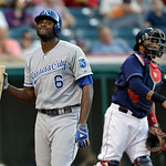 Kansas City Royals' Lorenzo Cain reacts after striking out against Cleveland Indians starting pitcher Ubaldo Jimenez in the fourth inning of a baseball game Tuesday, June 18, 2013, in Clevel …