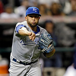 Kansas City Royals relief pitcher Kelvin Herrera throws out Cleveland Indians' Drew Stubbs on a ground ball in the eight inning of a baseball game Tuesday, June 18, 2013, in Cleveland. Herre …
