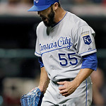 Kansas City Royals relief pitcher Tim Collins reacts after giving up a sacrifice fly to Cleveland Indians' Michael Brantley to drive in the go-ahead run in the eighth inning of a baseball ga …