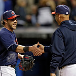Cleveland Indians' Jason Kipnis, left, is congratulated by manager Terry Francona after a 4-3 win over the Kansas City Royals in a baseball game Tuesday, June 18, 2013, in Cleveland. Kipnis' …