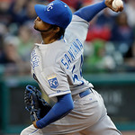 Kansas City Royals starting pitcher Ervin Santana delivers against the Cleveland Indians in the fourth inning of a baseball game Tuesday, June 18, 2013, in Cleveland. (AP Photo/Mark Duncan)