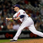 Cleveland Indians relief pitcher Joe Smith delivers against the Kansas City Royals in the ninth inning of a baseball game Wednesday, June 19, 2013, in Cleveland. The Indians won 6-3. (AP Pho …
