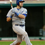 Kansas City Royals' Mike Moustakas doubles off Cleveland Indians starting pitcher Justin Masterson in the fourth inning of a baseball game Wednesday, June 19, 2013, in Cleveland. (AP Photo/M …