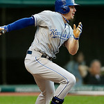 Kansas City Royals' Elliot Johnson singles off Cleveland Indians starting pitcher Justin Masterson to drive in a run in the fourth inning of a baseball game on Wednesday, June 19, 2013, in C …
