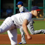 Kansas City Royals' Eric Hosmer, back, steals second base as Cleveland Indians starting pitcher Justin Masterson delivers in the first inning of a baseball game Wednesday, June 19, 2013, in  …